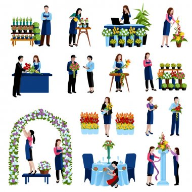 Florists arranging flowers flat icons set