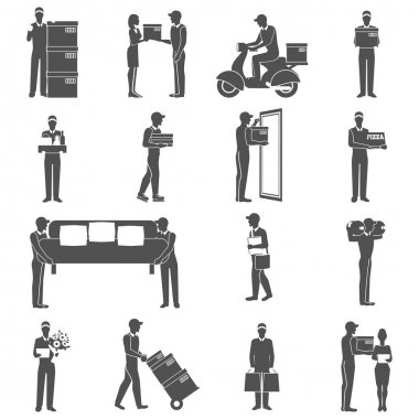 Delivery Man Icons Set