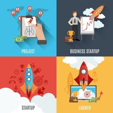 Rocket startup flat square composition poster