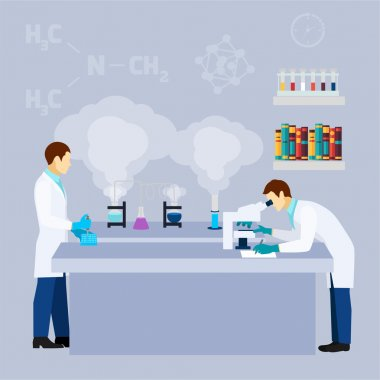 Chemical lab science research flat poster
