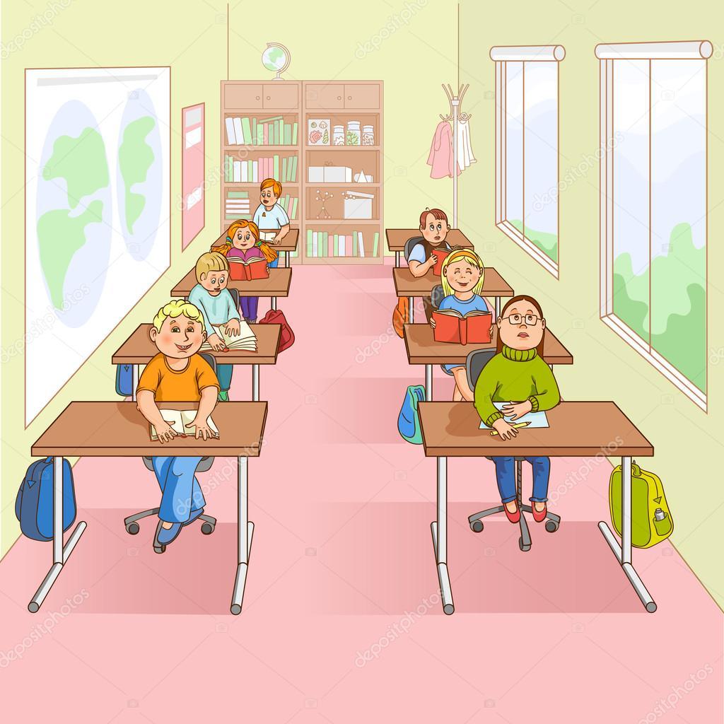 Deti Ve Skole Kresleny Obrazek Stock Vektor C Macrovector 85504586