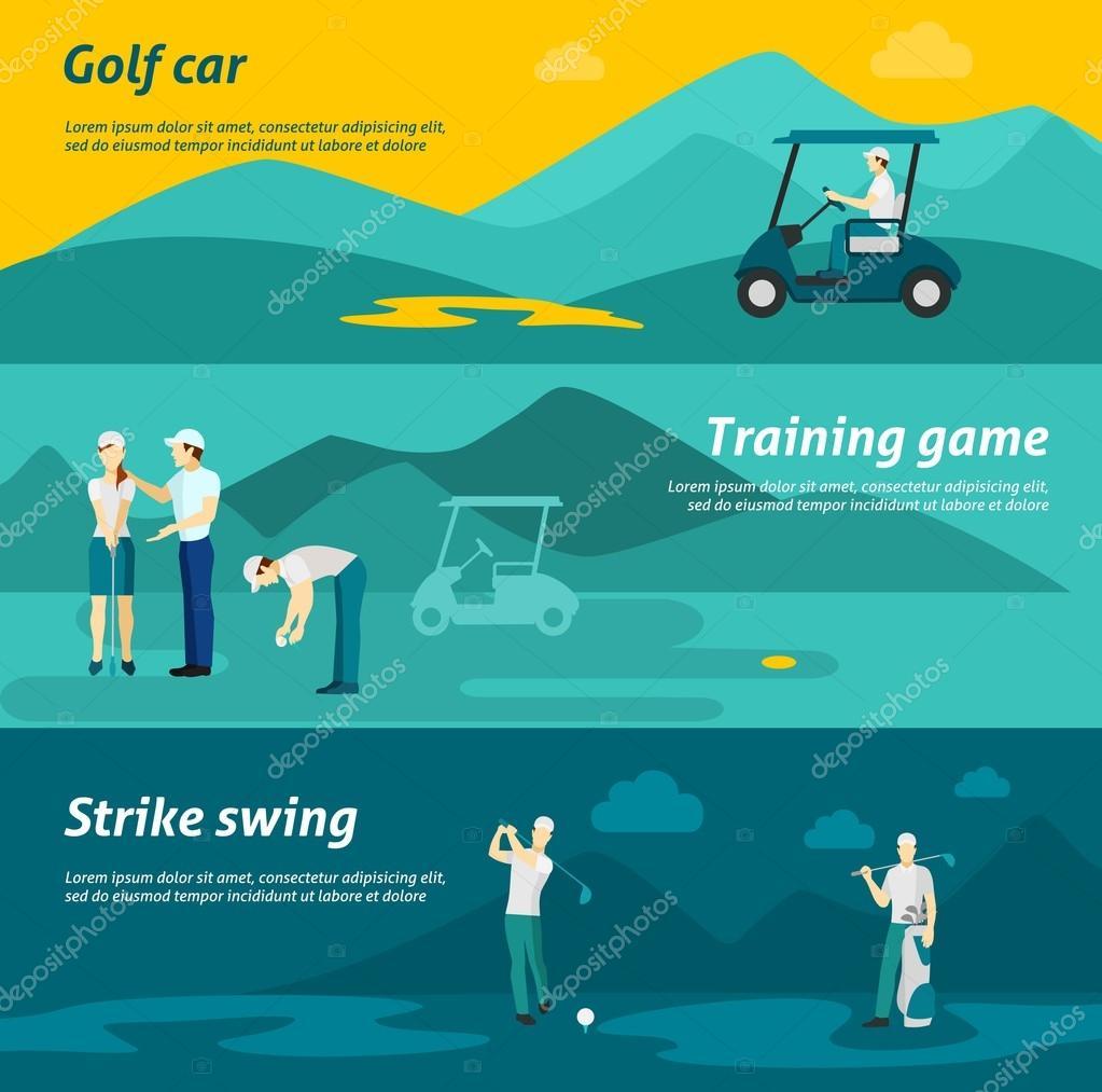 5df09f521 Golf Banner plano conjunto — Vector de stock © macrovector  85505428