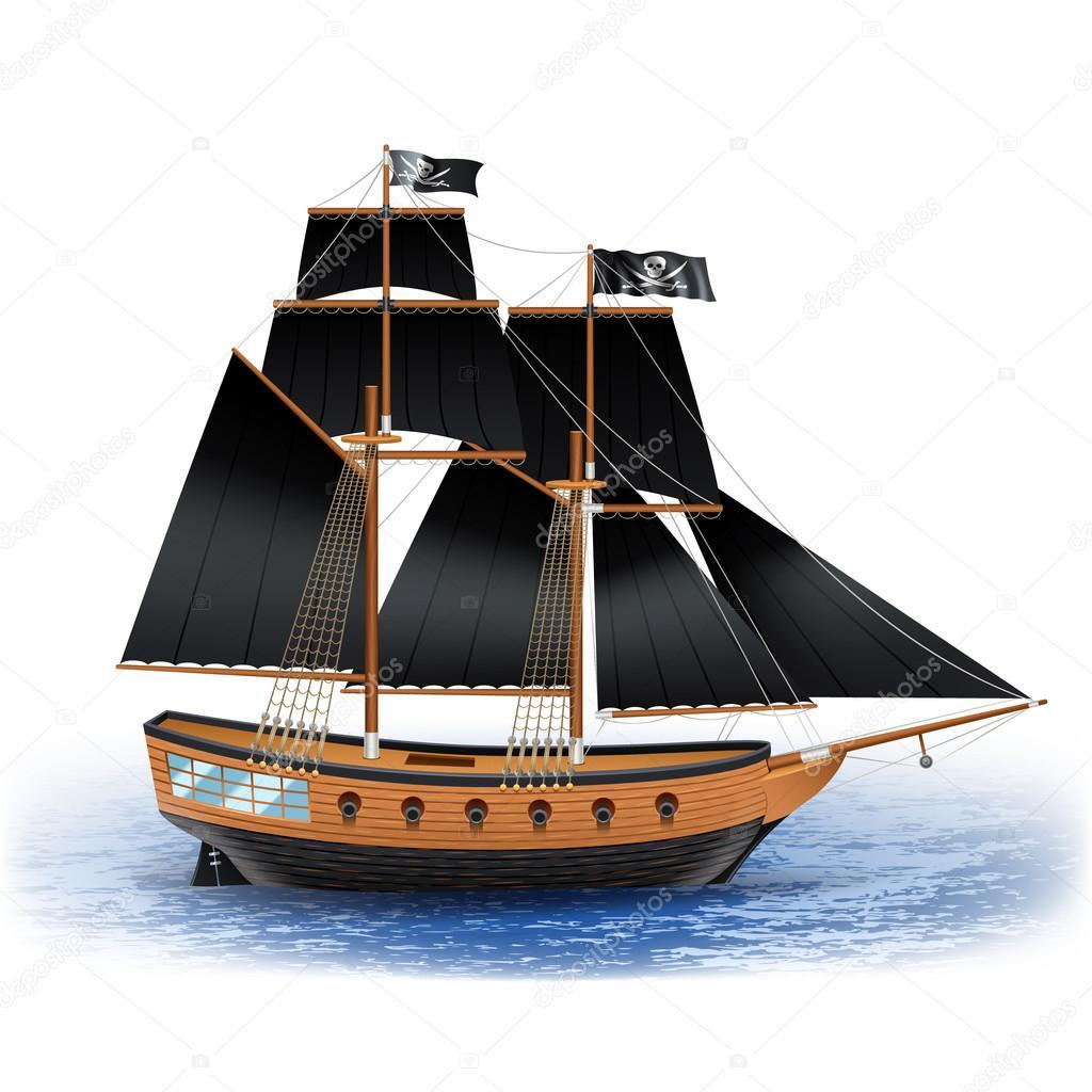 Ilustración de barco pirata — Vector de stock © macrovector #85505828