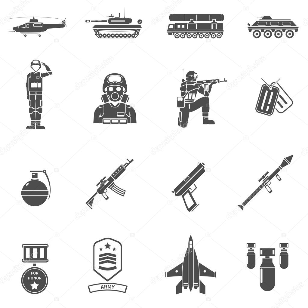 Army black white icons set with army transport uniform and weapons flat isolated vector illustration stock vector