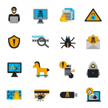 Hacker Icons Flat Set