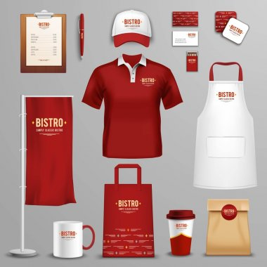 Corporate and identity design for bistro restaurant chain in three colors icons collection abstract isolated vector illustration stock vector