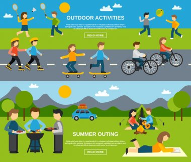 Outing horizontal banner set with outdoor activities isolated vector illustration stock vector