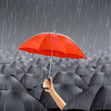 Red Umbrella Under Rain