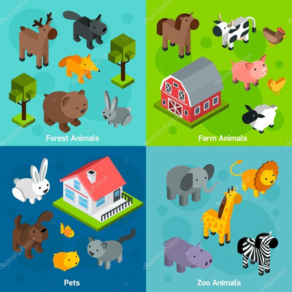 Isometric Animals Set