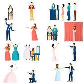 Theater actors flat icons set