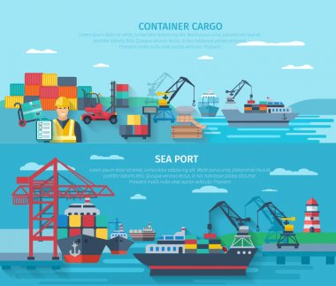 Sea Port Horizontal Banner Set