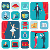 Theater Icons flache Set