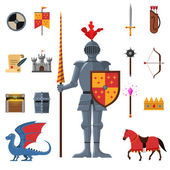 Medieval kingdom knights flat icons set