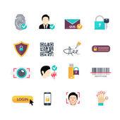 Photo Verification secure methods flat icons set
