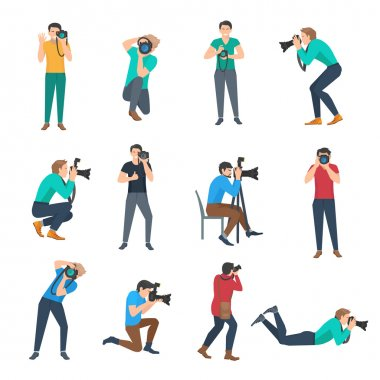 Male photographer full lenght avatars set flat isolated vector illustration stock vector