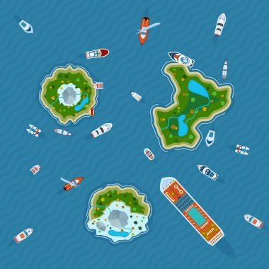 Various ships and motorboats around three islands in the ocean view  from above abstract vector illustration clip art vector