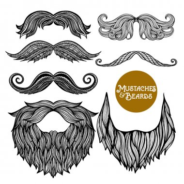 Hand Drawn  Decorative Beard And Mustache Set
