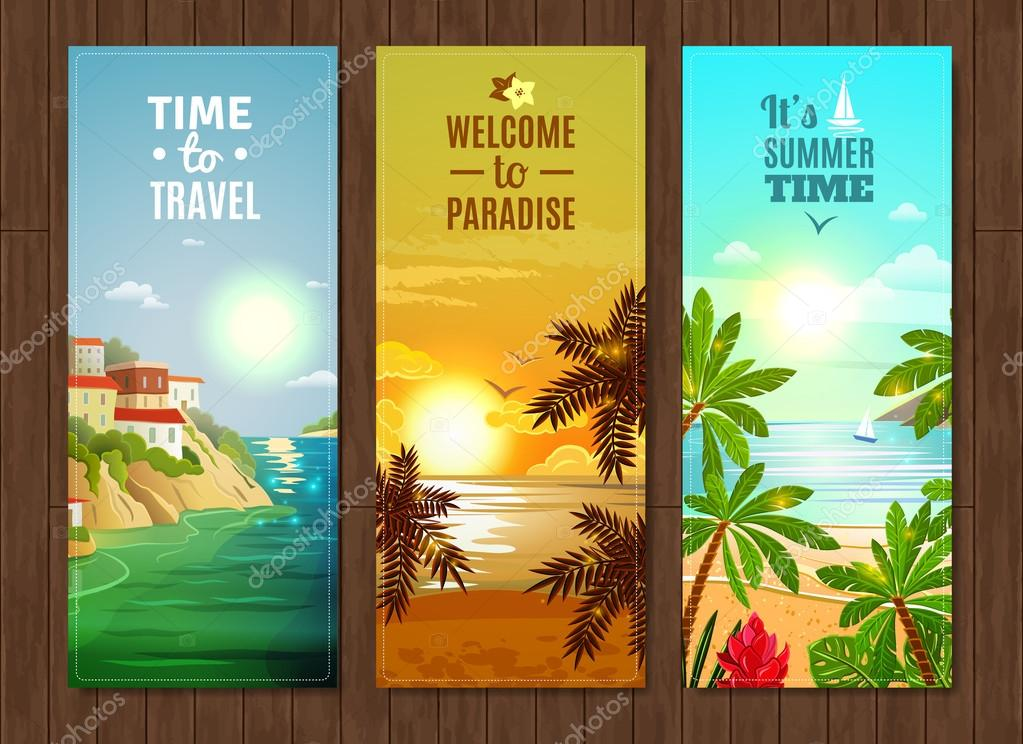 Travel agency sea vacation banners set