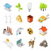 Ekologie a sada ikon ochrany životního prostředí