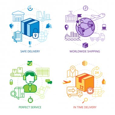 Logistics Design Line Icons Set