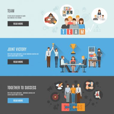 Teamwork management flat interactive  horizontal banners