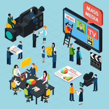 Mass Media Isometric Concept