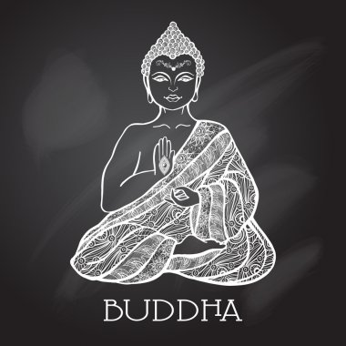 Chalk Board Buddha Illustration