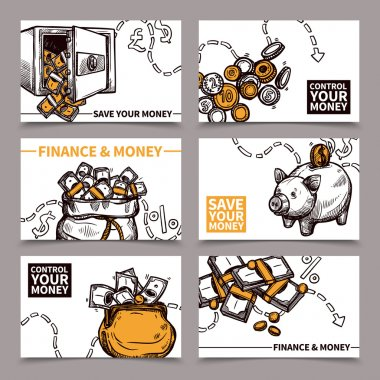 Business finance cards composition pictograms doodle