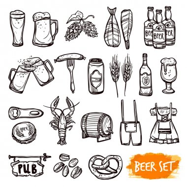 Beer black pictograms set with oak barrel hop malted barley grain and snacks doodle isolated vector illustration stock vector