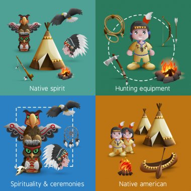 Native American Design  Icons Set