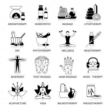 Black Alternative Medicine Icons Set