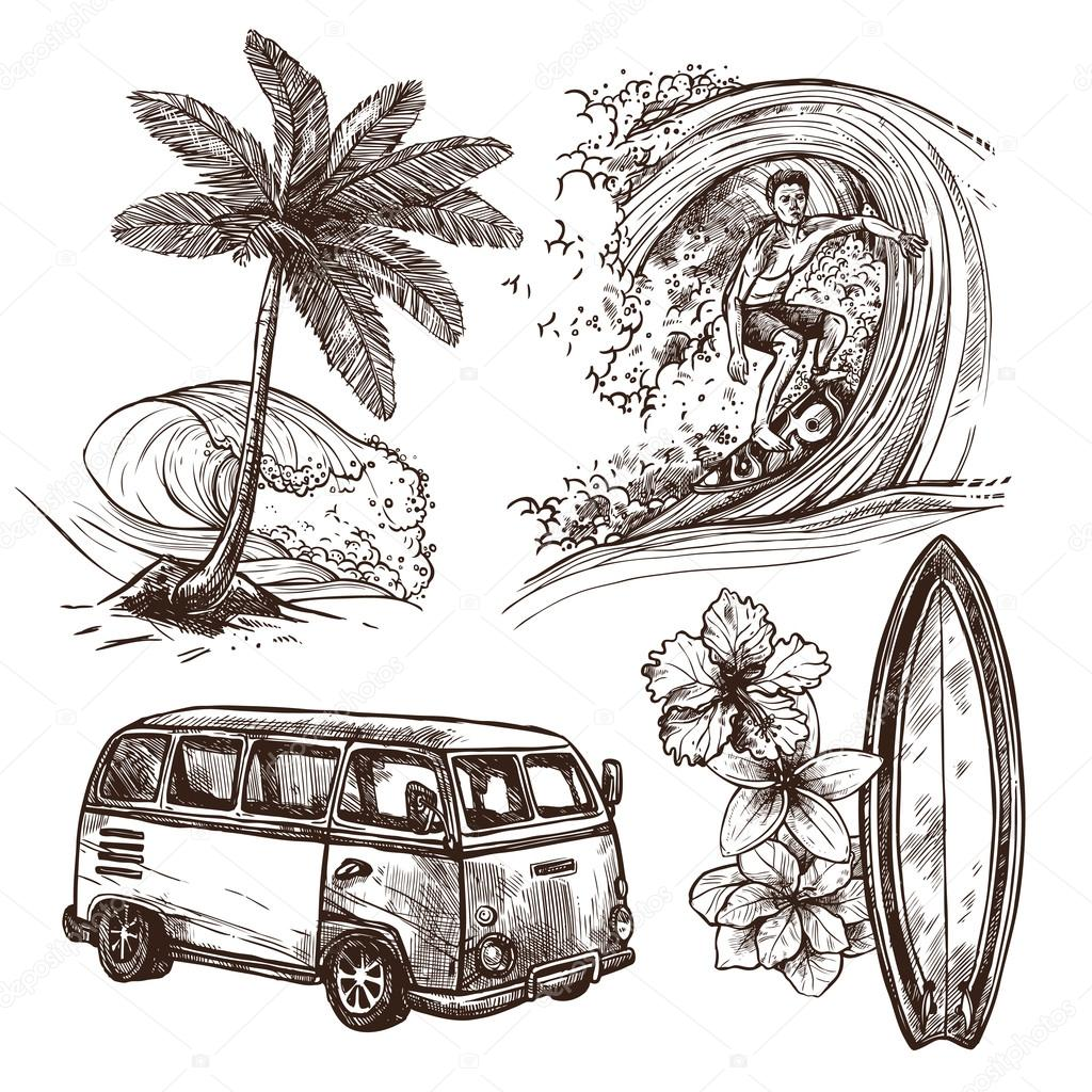Surfing Sketch Icon Set