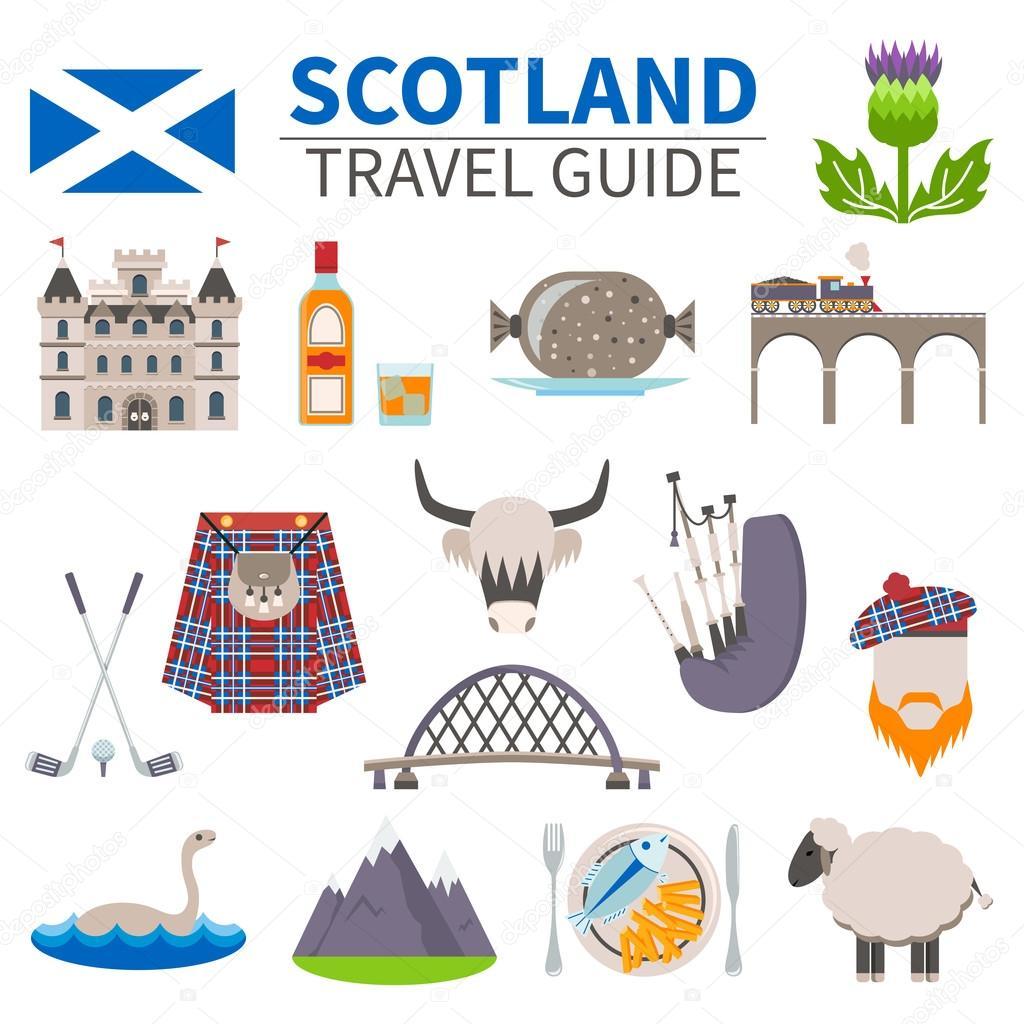 Scotland Travel Icons Set