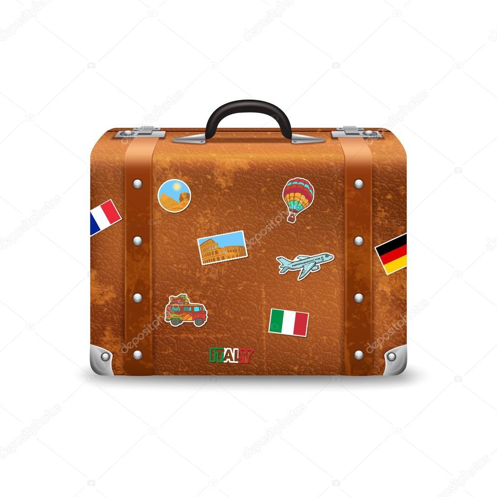 58e154a29 Maleta de viaje de estilo antiguo con viajes pegatinas vector realista  ilustración — Vector de ...