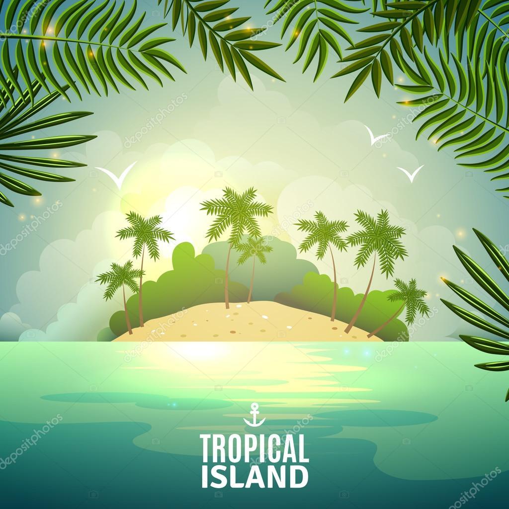 Cartel de naturaleza de isla tropical — Vector de stock ...