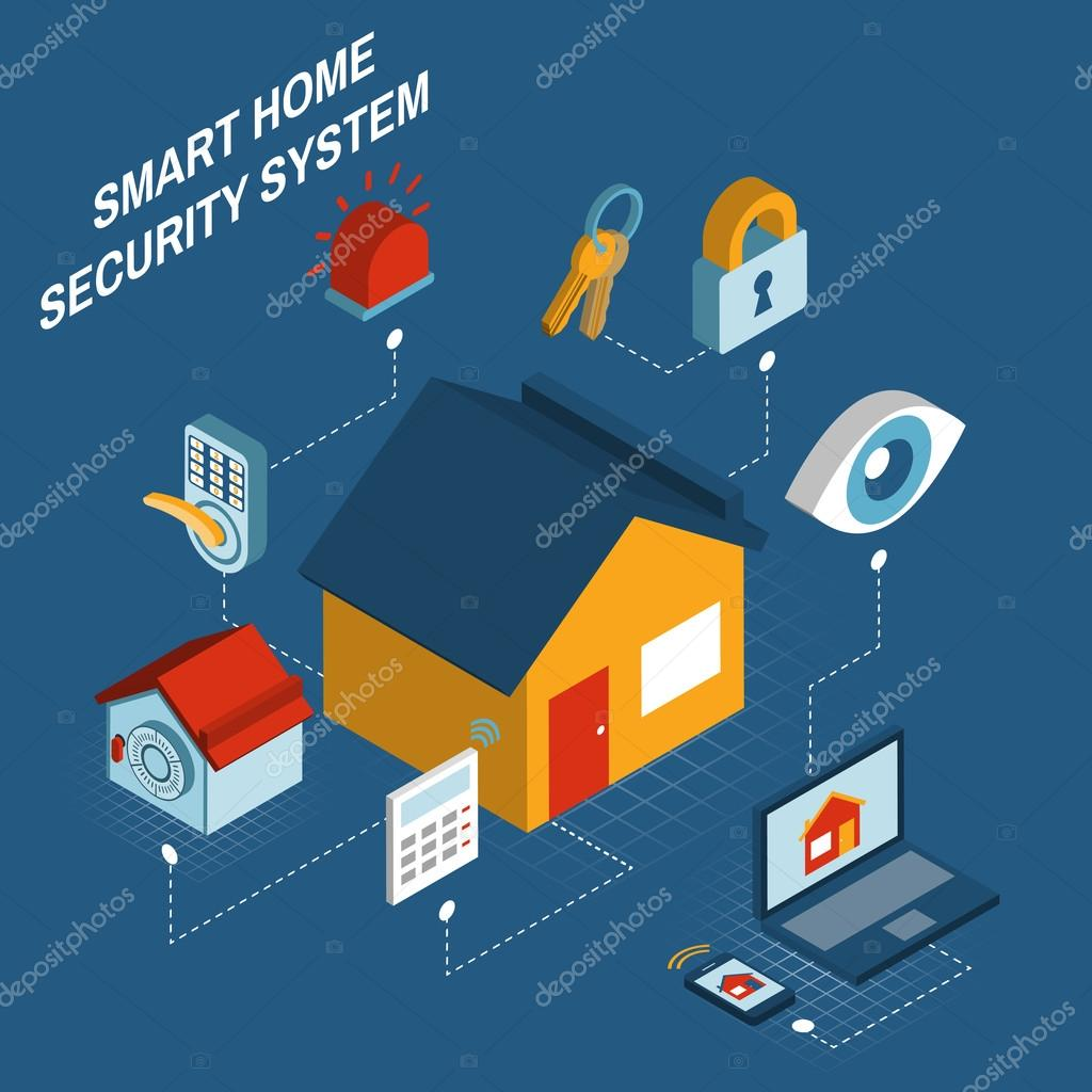 Smart Home Security System Isometric Poster U2014 Stock Vector