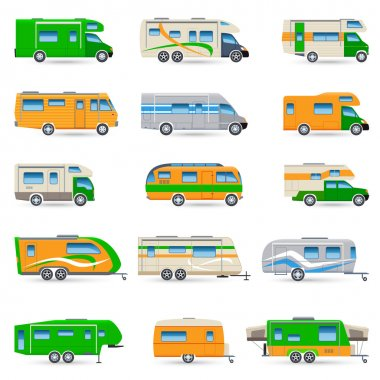 Recreational vehicles vans and caravans decorative icons set isolated vector illustration stock vector