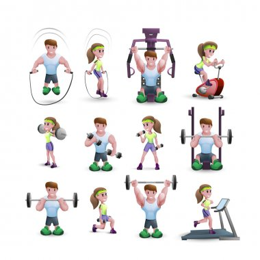 Icon Set Of Fitness Characters