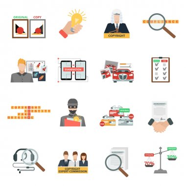 Compliance copyright law flat icons set