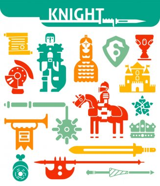 Set Of Monochrome Icons Knight
