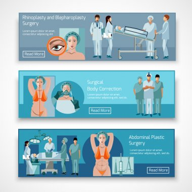 Plastic surgery concept 4 flat icons square