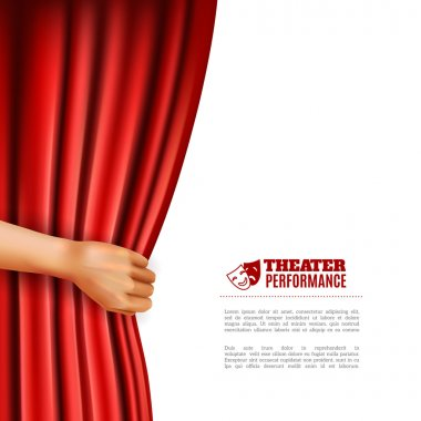 Hand opening red theatre curtain with performance symbols realistic vector illustration stock vector