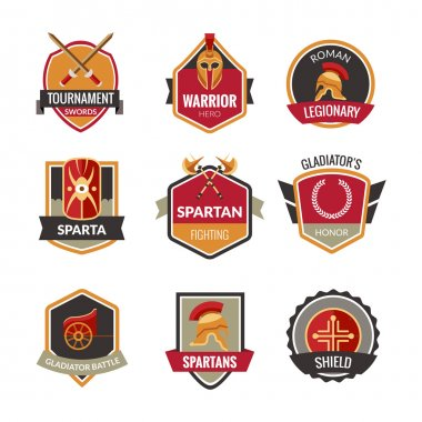 Gladiator emblems set with spartan fighting symbols isolated vector illustration stock vector
