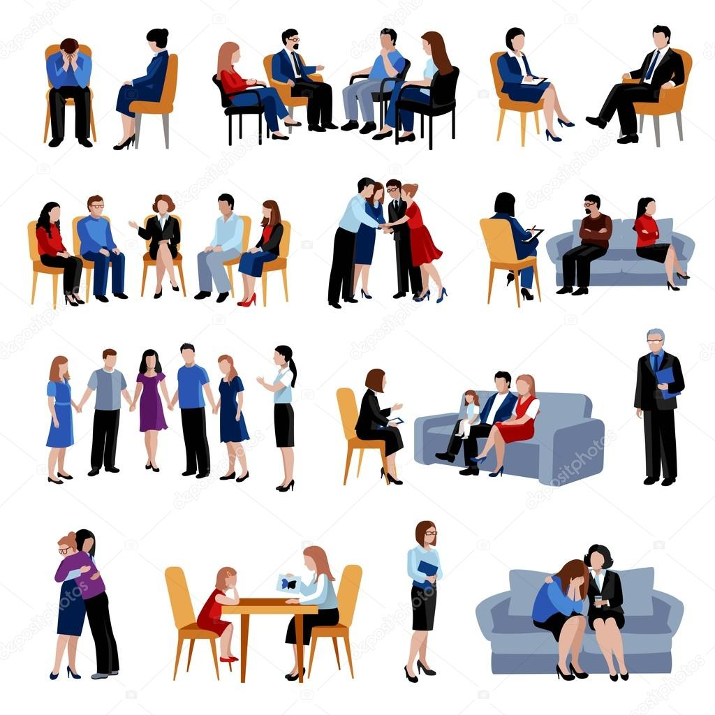 Family and relationship problems counseling and therapy with support group flat icons collection abstract isolated vector illustration stock vector