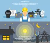 Elektřina a energie bannery Set