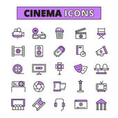 Fotografie Cinema symbols outlined icons set