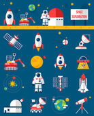 Fotografie Space Cosmos Exploration Flat Icons Set
