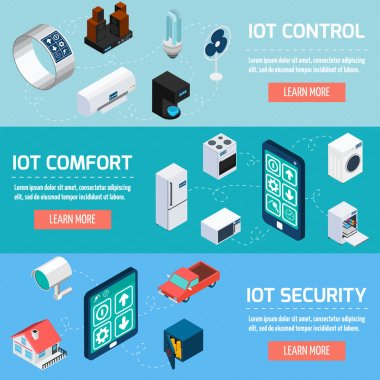Iot household isometric banners set
