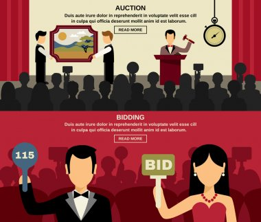 Auction And Bidding Banners Set