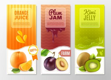Fruits 3 Ad  Vertical banners set